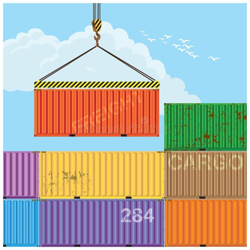 Contenedores para mercancías de elevación de la grúa stock de ilustración
