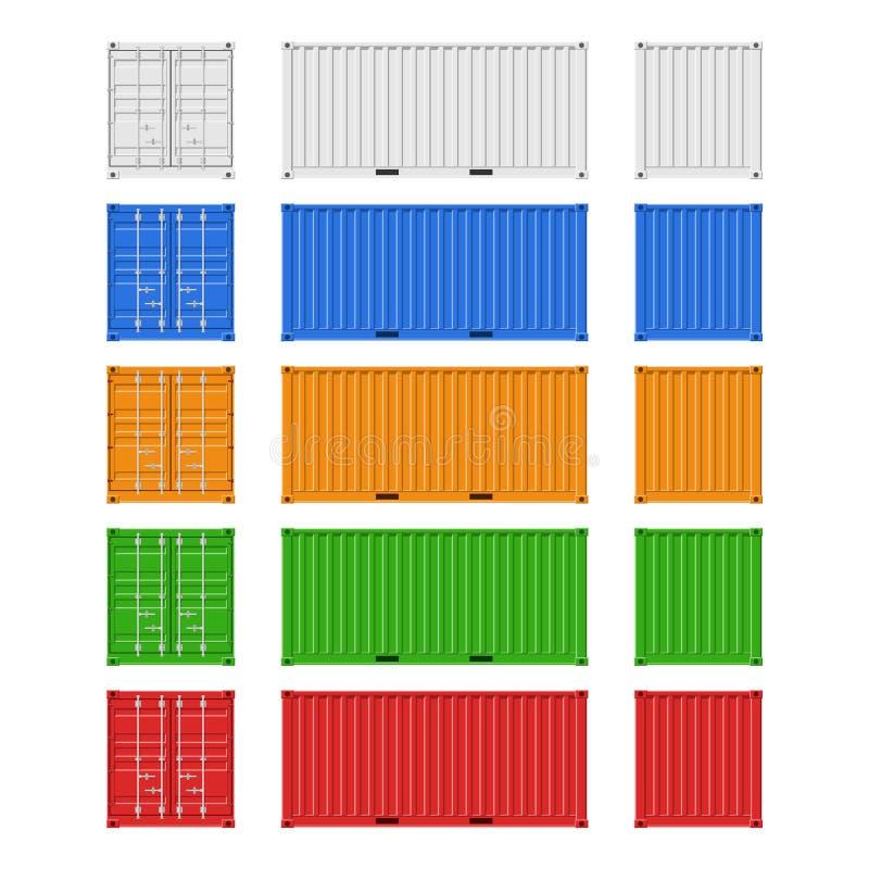 Contenedores para mercanc?as fijados para el env?o de la carga y la exportaci?n del mar aislados en el fondo blanco Frente, parte ilustración del vector