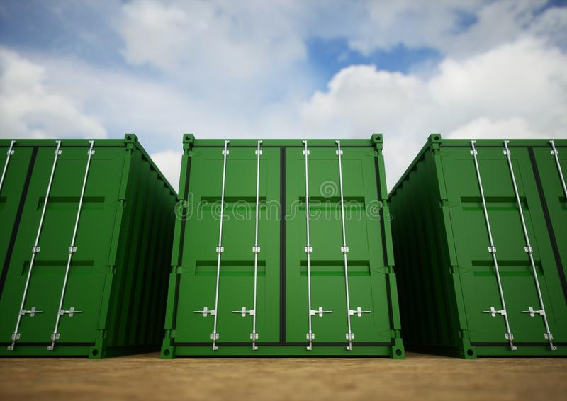 Contenedores para mercancías verdes imagen de archivo libre de regalías