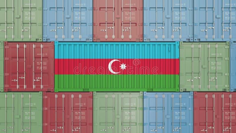 Conteneur avec le drapeau de l'Azerbaïdjan Les marchandises azerbaïdjanaises ont rapporté le rendu 3D conceptuel illustration libre de droits