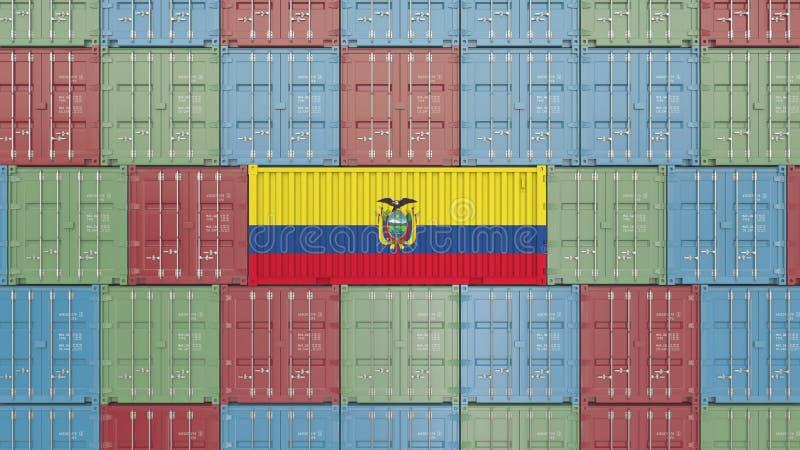 Conteneur avec le drapeau de l'Equateur Les marchandises équatoriennes ont rapporté le rendu 3D conceptuel illustration de vecteur
