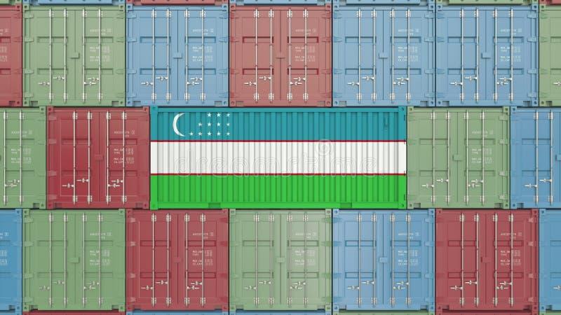 Conteneur avec le drapeau de l'Ouzbékistan Les marchandises d'Ouzbékistan ont rapporté le rendu 3D conceptuel illustration libre de droits