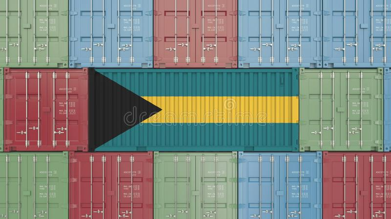 Conteneur avec le drapeau des Bahamas Les marchandises bahamiennes ont rapporté le rendu 3D conceptuel illustration de vecteur