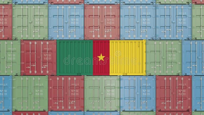 Conteneur avec le drapeau du Cameroun Les marchandises canerounaises ont rapporté le rendu 3D conceptuel illustration libre de droits