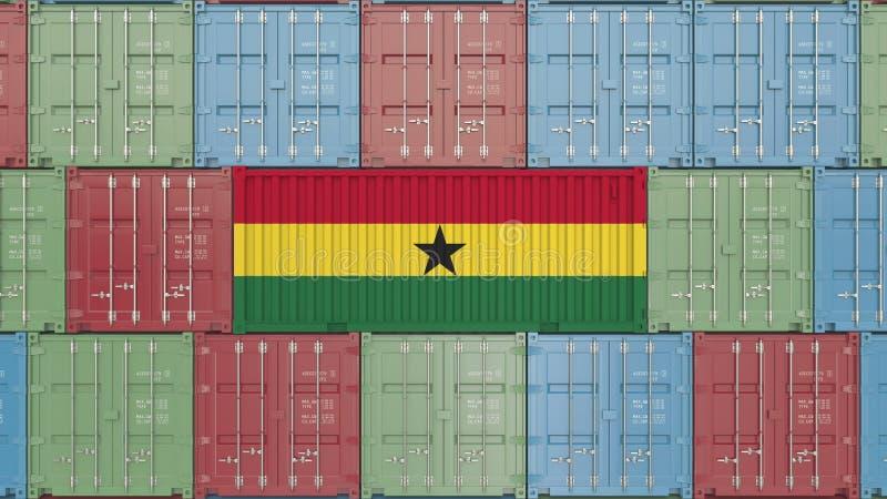 Conteneur avec le drapeau du Ghana Les marchandises ghanéennes ont rapporté le rendu 3D conceptuel illustration de vecteur