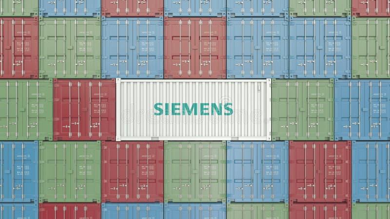 Conteneur avec le logo d'entreprise de Siemens Rendu 3D éditorial illustration libre de droits