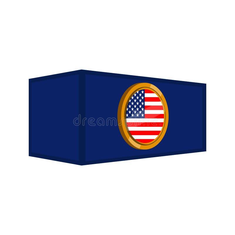 Conteneur avec un bouton de drapeau illustration libre de droits