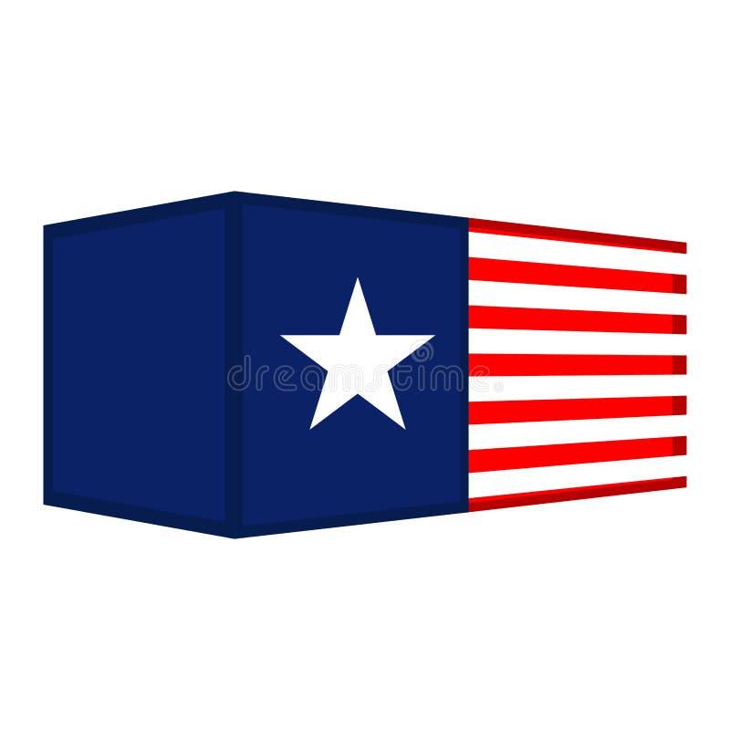 Conteneur avec un drapeau des Etats-Unis illustration stock