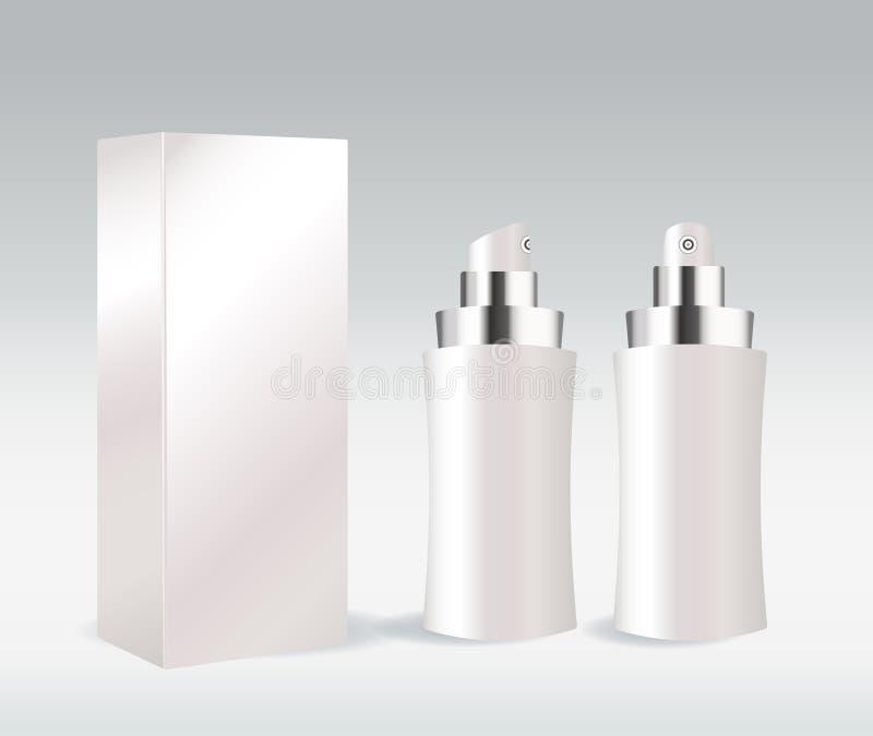 Conteneur cosmétique blanc pour la crème de visage, gel, seru illustration libre de droits