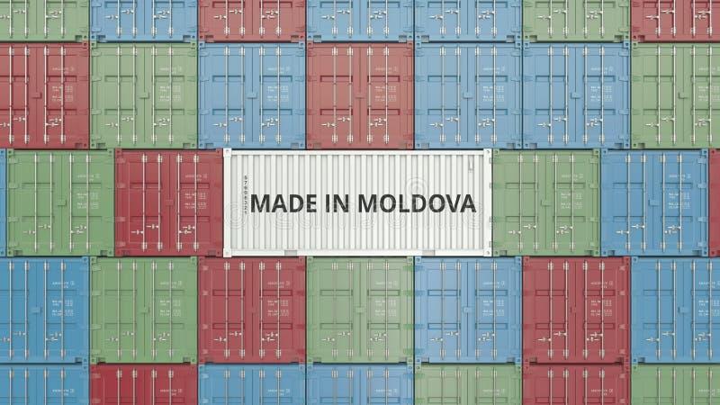 Conteneur de cargaison avec FAIT EN texte de MOLDAU Rendu 3D relatif moldove d'importation ou d'exportation illustration libre de droits