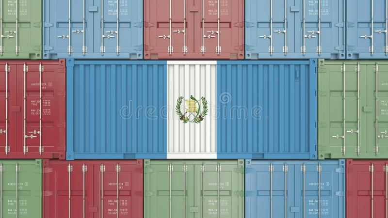 Conteneur de cargaison avec le drapeau du Guatemala Les marchandises guatémaltèques ont rapporté le rendu 3D conceptuel illustration de vecteur