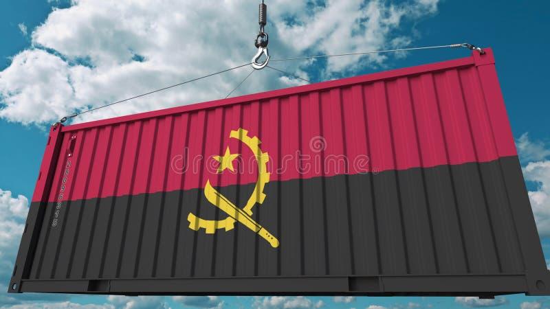 Conteneur de cargaison avec le drapeau de l'Angola L'importation ou l'exportation angolaise a rapporté le rendu 3D conceptuel illustration libre de droits