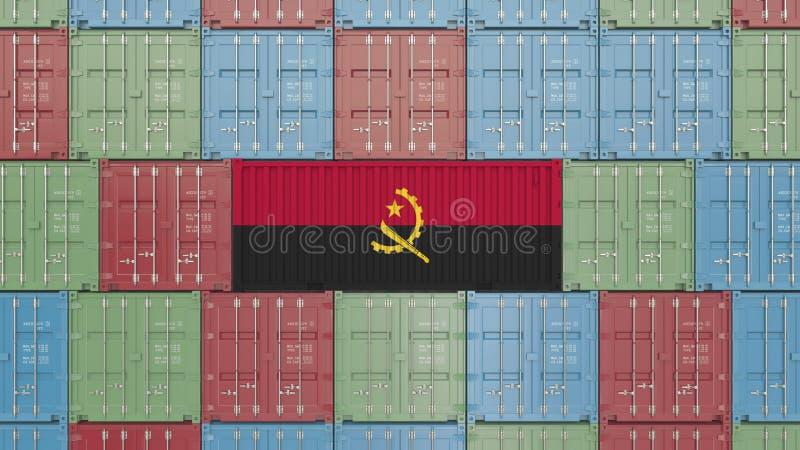 Conteneur de cargaison avec le drapeau de l'Angola Rendu 3D relatif angolais d'importation ou d'exportation illustration de vecteur