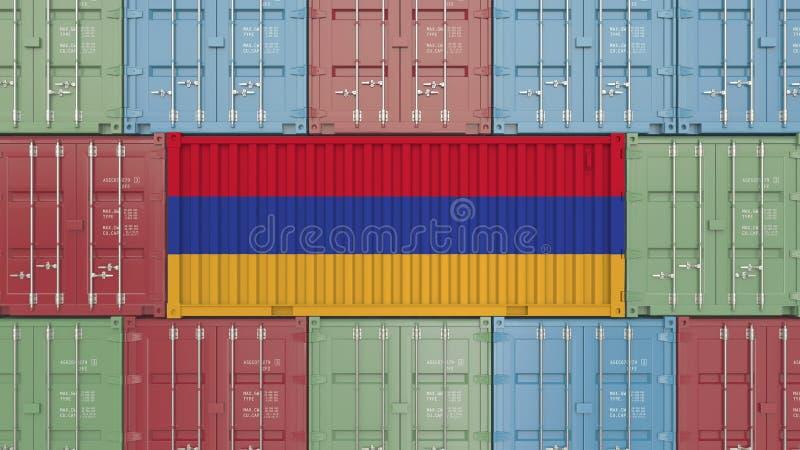 Conteneur de cargaison avec le drapeau de l'Arménie Les marchandises arméniennes ont rapporté le rendu 3D conceptuel illustration libre de droits
