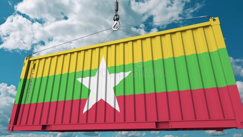 Conteneur de cargaison avec le drapeau de Myanmar L'importation ou l'exportation de Myanma a rapporté le rendu 3D conceptuel illustration stock