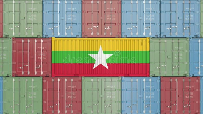 Conteneur de cargaison avec le drapeau de Myanmar Les marchandises de Myanma ont rapporté le rendu 3D conceptuel illustration stock