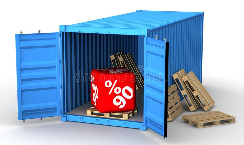 Conteneur de cargaison avec quatre-vingt-dix remises de pourcentage illustration libre de droits