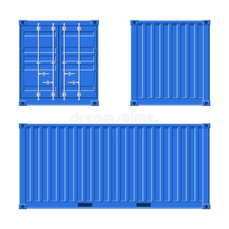 Conteneur de cargaison bleu pour embarquer et exportation de mer d'isolement sur le fond blanc Avant, dos et vue de c?t? Logistiq illustration libre de droits