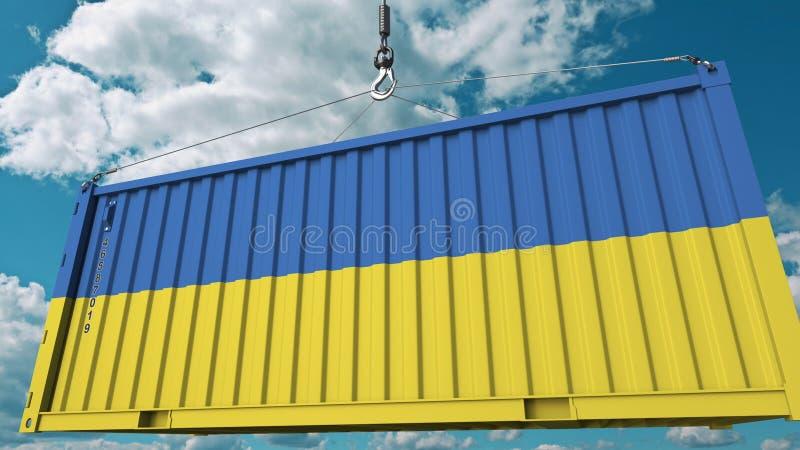 Conteneur de cargaison de chargement avec le drapeau de l'Ukraine L'importation ukrainienne ou l'exportation a rapporté le rendu  illustration libre de droits