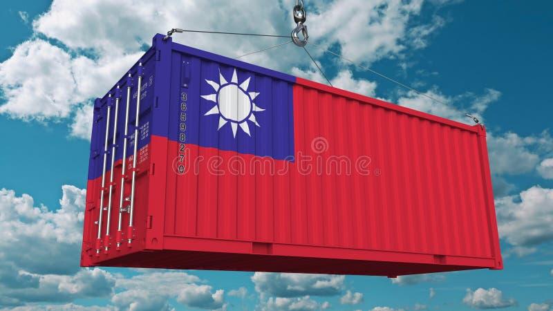 Conteneur de cargaison de chargement avec le drapeau de Taïwan L'importation taiwanaise ou l'exportation a rapporté le rendu 3D c illustration de vecteur