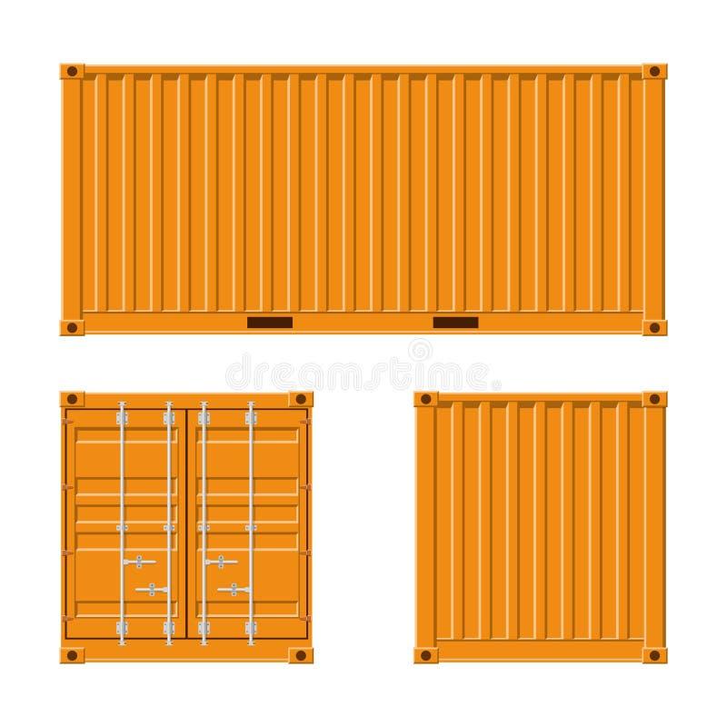 Conteneur de cargaison jaune pour embarquer et exportation de mer d'isolement sur le fond blanc Avant, dos et vue de c?t? logisti illustration stock