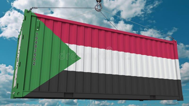 Conteneur de chargement avec le drapeau du Soudan L'importation ou l'exportation de Sudanian a rapporté le rendu 3D conceptuel illustration libre de droits