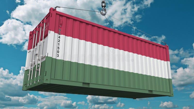 Conteneur de chargement avec le drapeau de la Hongrie L'importation ou l'exportation hongroise a rapporté le rendu 3D conceptuel illustration de vecteur