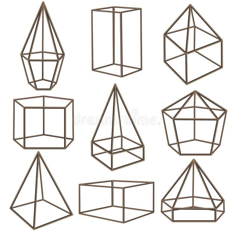Conteneur en verre géométrique avec la ligne mince ensemble de côtés Vecteur illustration libre de droits