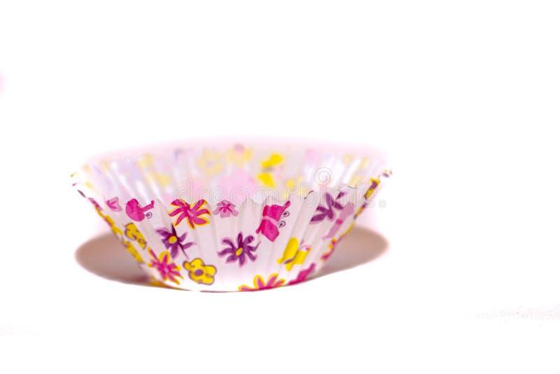 Conteneur fait en moule de papier ondulé de petit pain avec un modèle multicolore image stock