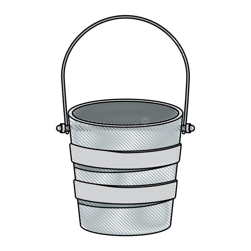 Conteneur métallique coloré de seau de silhouette de crayon illustration libre de droits