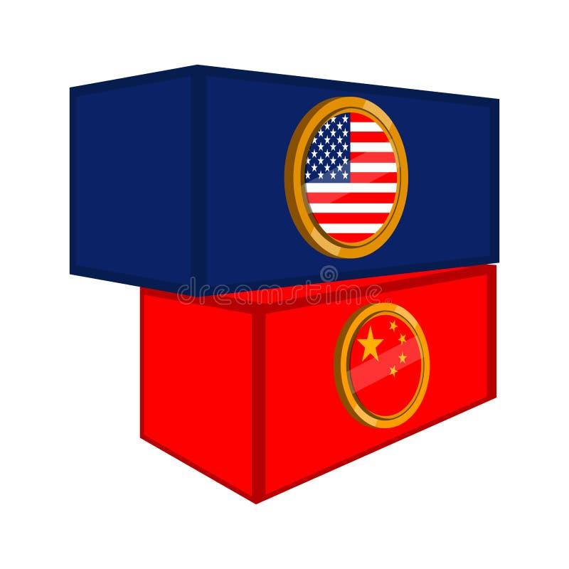 Conteneurs avec des drapeaux des Etats-Unis et de la Chine illustration libre de droits