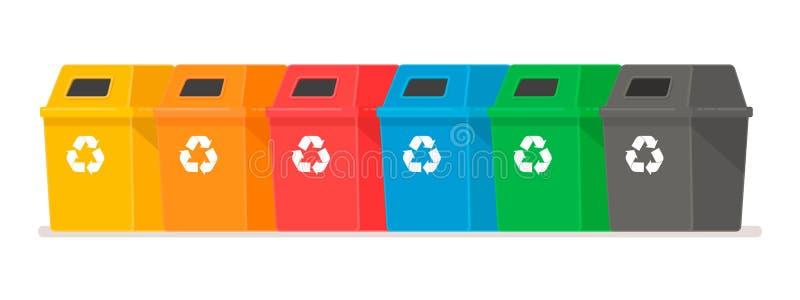 Conteneurs d'ordures Le concept du tri de d?chets Réservoirs multicolores chacun pour son propre type de déchets illustration libre de droits