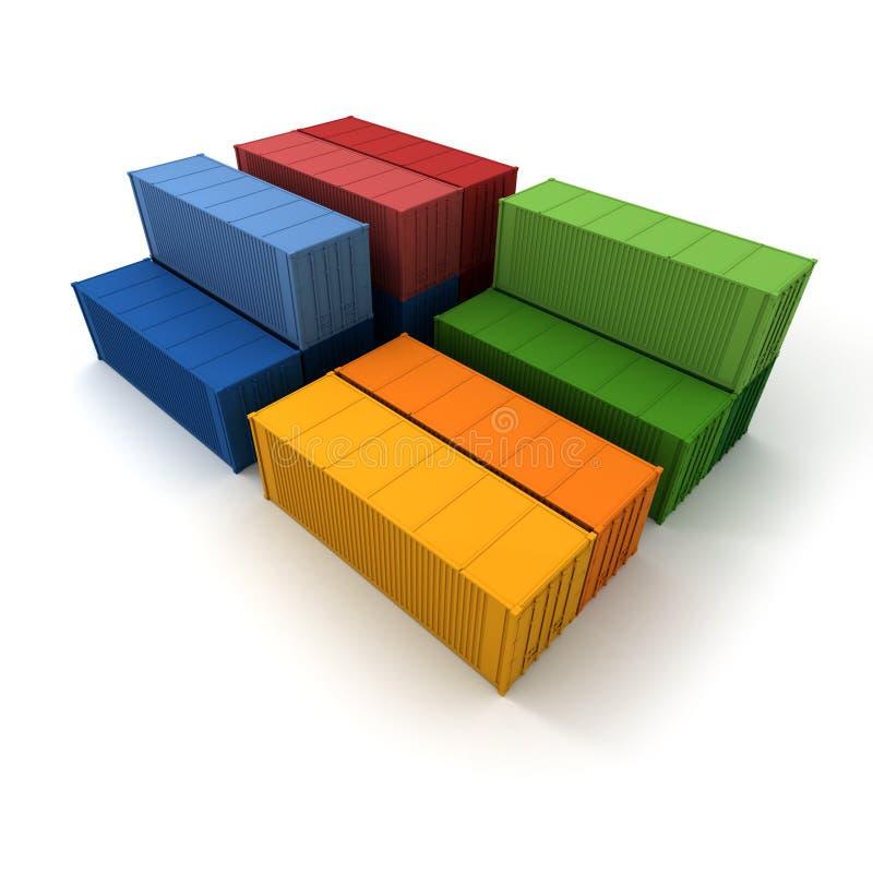 Conteneurs de cargaison en couleurs illustration libre de droits