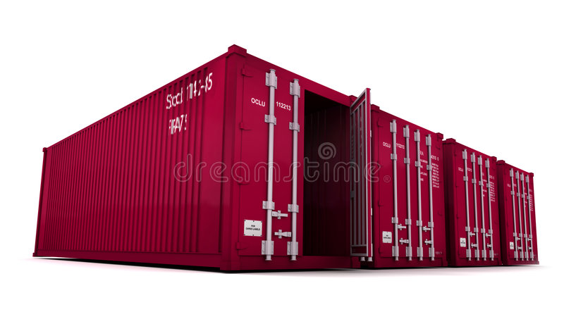 Conteneurs de cargaison rouges avec la porte ouverte photo libre de droits