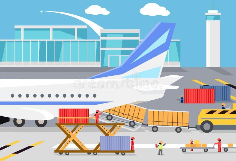Conteneurs de marchandises de chargement dans un avion de charge illustration stock