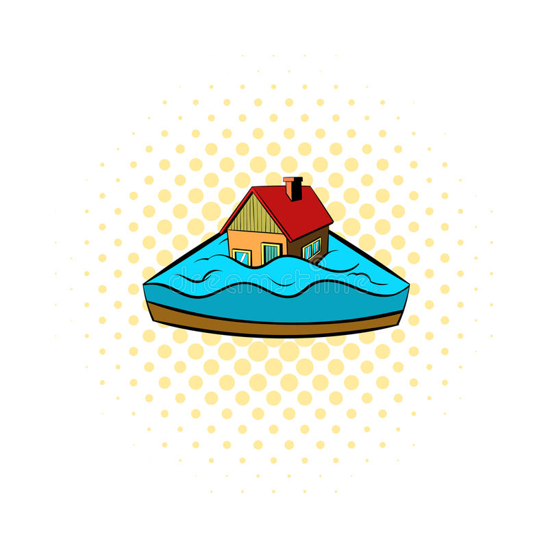 Contenga el hundimiento en un icono del agua, estilo de los tebeos ilustración del vector