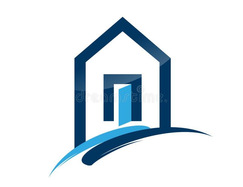 Contenga el icono azul del edificio de la subida del símbolo de las propiedades inmobiliarias del logotipo stock de ilustración