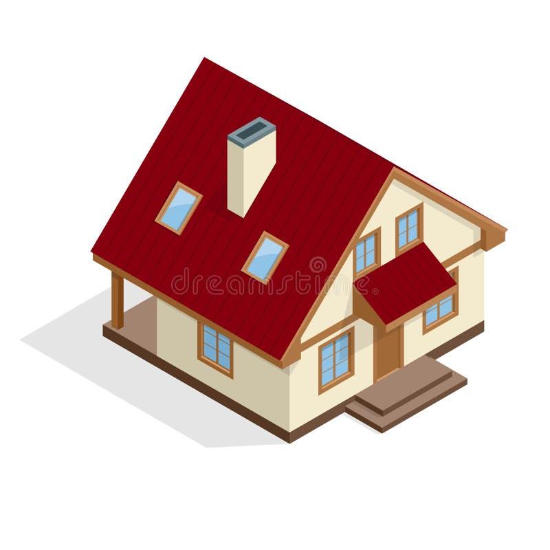 Contenga el icono Casa Ejemplo isométrico del vector plano residencial 3d de la casa ilustración del vector