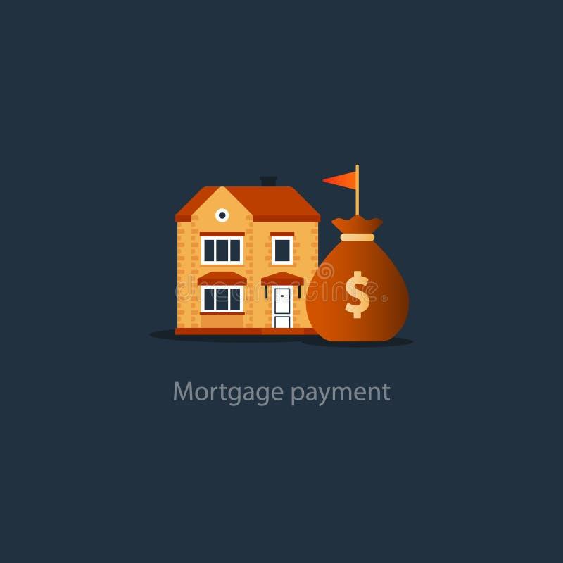 Contenga el icono del presupuesto, inversión inmobiliaria, pago de alquiler, compre el nuevo hogar, seguro libre illustration
