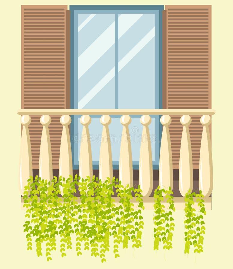 Contenga el icono plano del vector moderno retro del estilo de la fachada del balcón de la ventana libre illustration