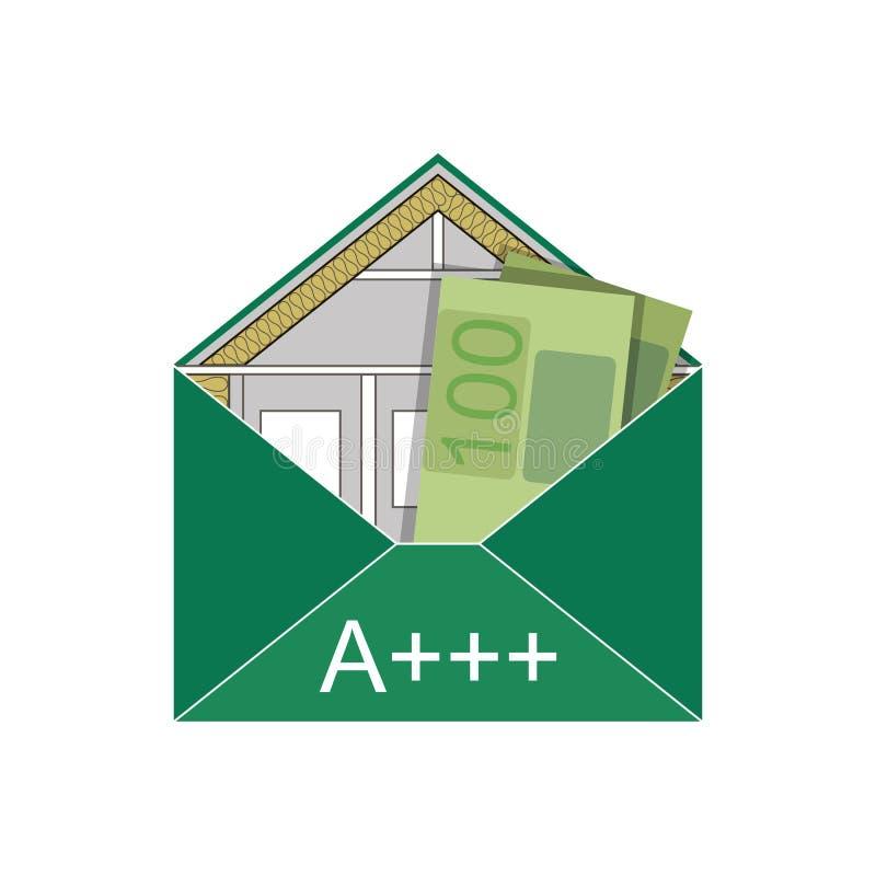 Contenga el nivel alegórico simbólico verde del coste del icono del logotipo de la imagen del rendimiento energético del sobre de stock de ilustración
