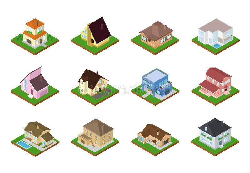 Contenga la arquitectura isométrica de la vivienda del vector o el sistema casero residencial del ejemplo de edificio de la econo stock de ilustración