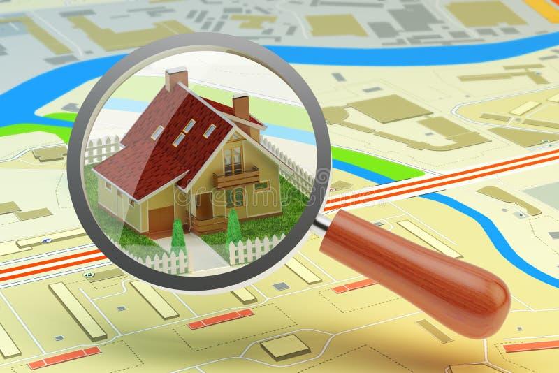 Contenga la búsqueda para la compra o alquile el concepto, agente inmobiliario stock de ilustración