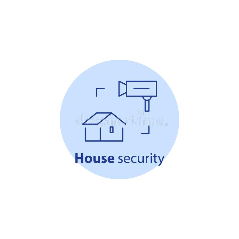Contenga la vigilancia de la cámara de vídeo, sistema del guardia de la alarma, seguridad en el hogar, protección del robo, rotur stock de ilustración