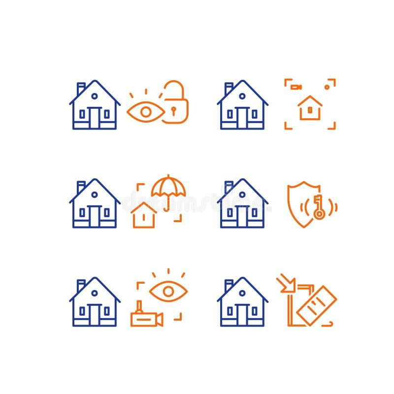 Contenga la vigilancia de la c?mara de v?deo, sistema del guardia de la alarma, seguridad en el hogar, protecci?n del robo, rotur stock de ilustración