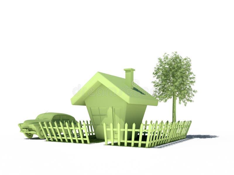 Contenga las propiedades inmobiliarias 3d inmóvil CG del árbol del coche ilustración del vector
