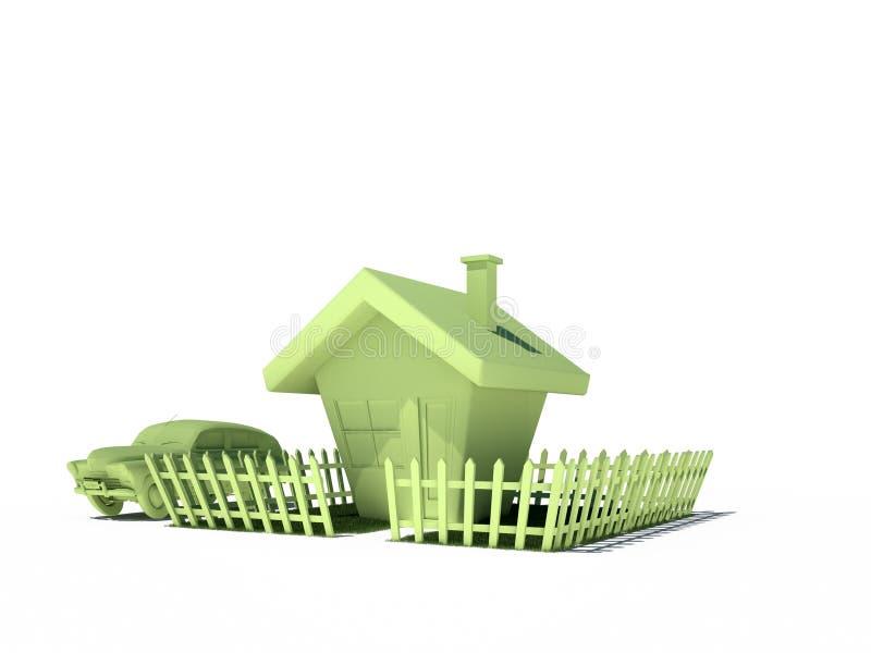 Contenga las propiedades inmobiliarias 3d inmóvil CG del coche ilustración del vector