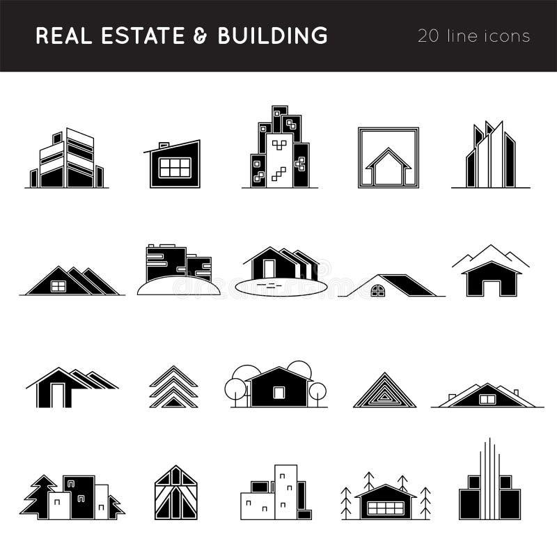 Contenga las siluetas, símbolos abstractos para la compañía constructiva, agencia inmobiliaria real stock de ilustración