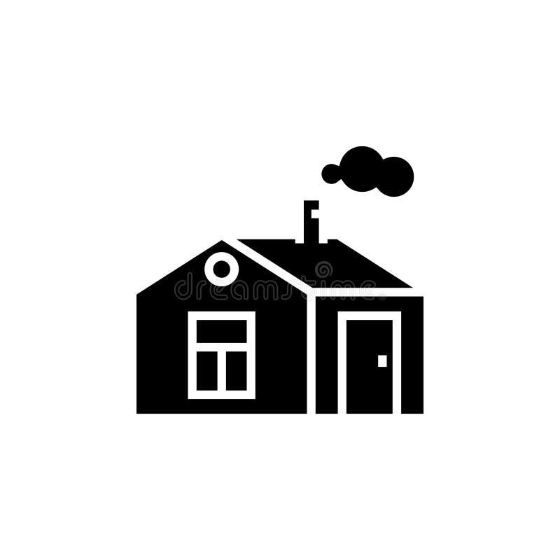 Contenga simple con el icono de la chimenea, ejemplo del vector, muestra negra en fondo aislado ilustración del vector