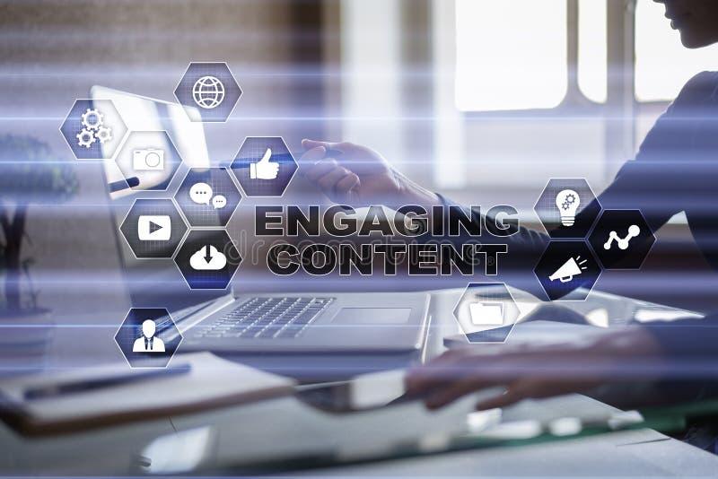 Contenido de acoplamiento en la pantalla virtual Concepto del márketing de Digitaces foto de archivo